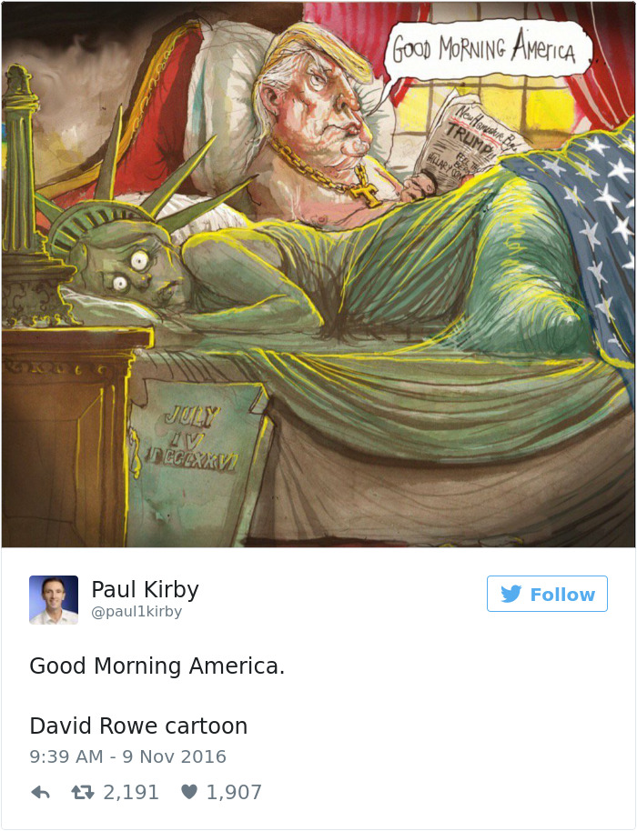 15+ Cartoonists Around The World Illustrate How They Feel About Trump Becoming President