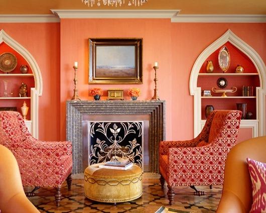 ИНТЕРЬЕР. Ярко-оранжевая гостиная