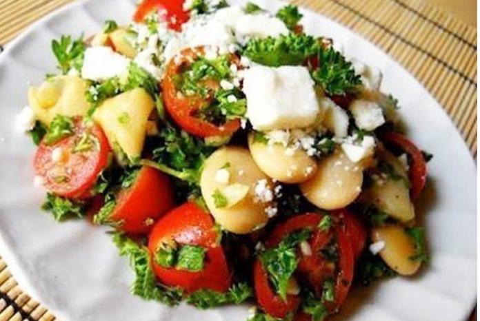 Теплый грибной салат с помидорами 50 ккал/100 гр