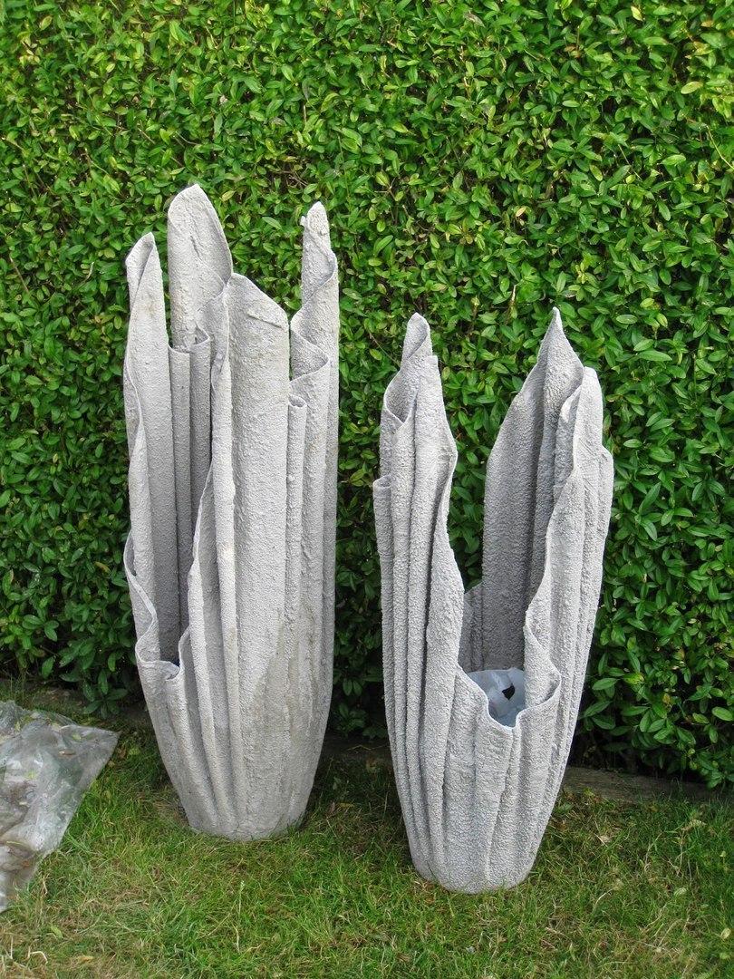 Декоративные кашпо из тряпки и цементного раствора