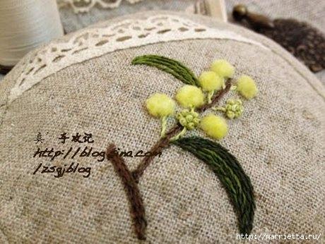 Объемная вышивка. Ромашки, одуванчики, хризантемы и мимоза (30) (460x346, 120Kb)