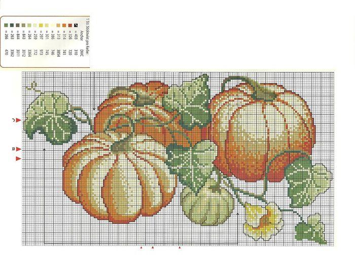 Схема вышивки крестом фрукты или овощи 921