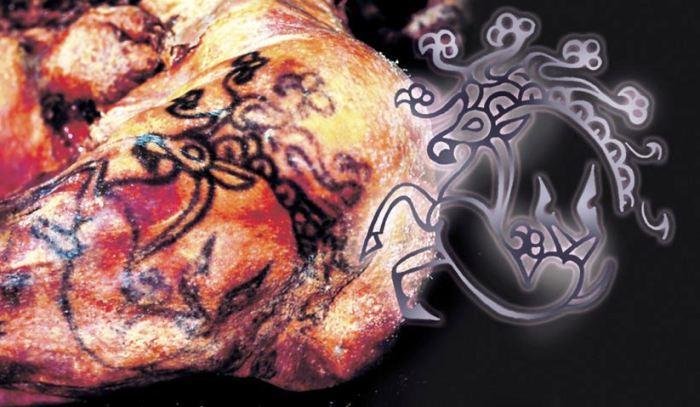Одна из покрывавших тело мумии татуировок.