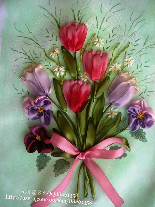 Цветы в вышивке лентами. Изумительные работы для вашего вдохновения