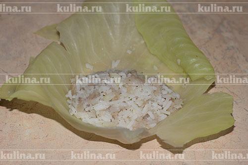 В середину каждого капустного листа положить начинку.