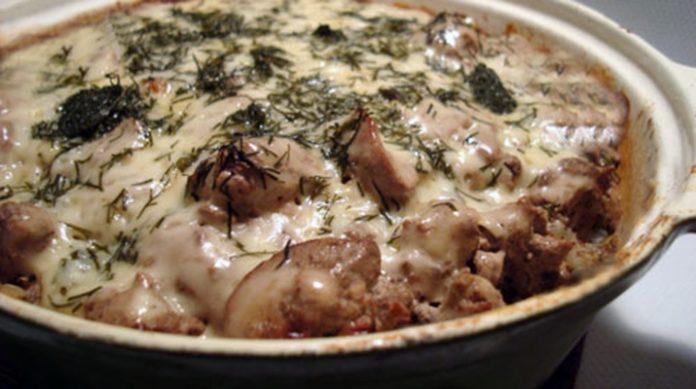 Гречка, запеченная с грибами и куриной печенью