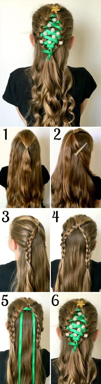 13. Елка волосы, праздник, прическа, рождество
