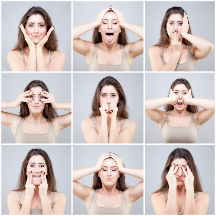 Упражнения для проработки лицевых мышц.