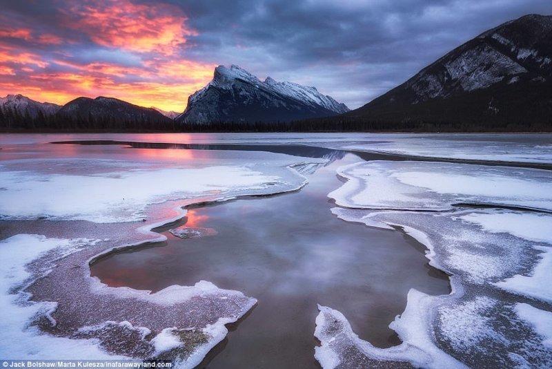 Ледяные образования на озерах Вермилион, национальный парк Банфф, Канада в мире, красивые фото, красивый вид, пейзажи, природа, путешествия, фото, фотографы