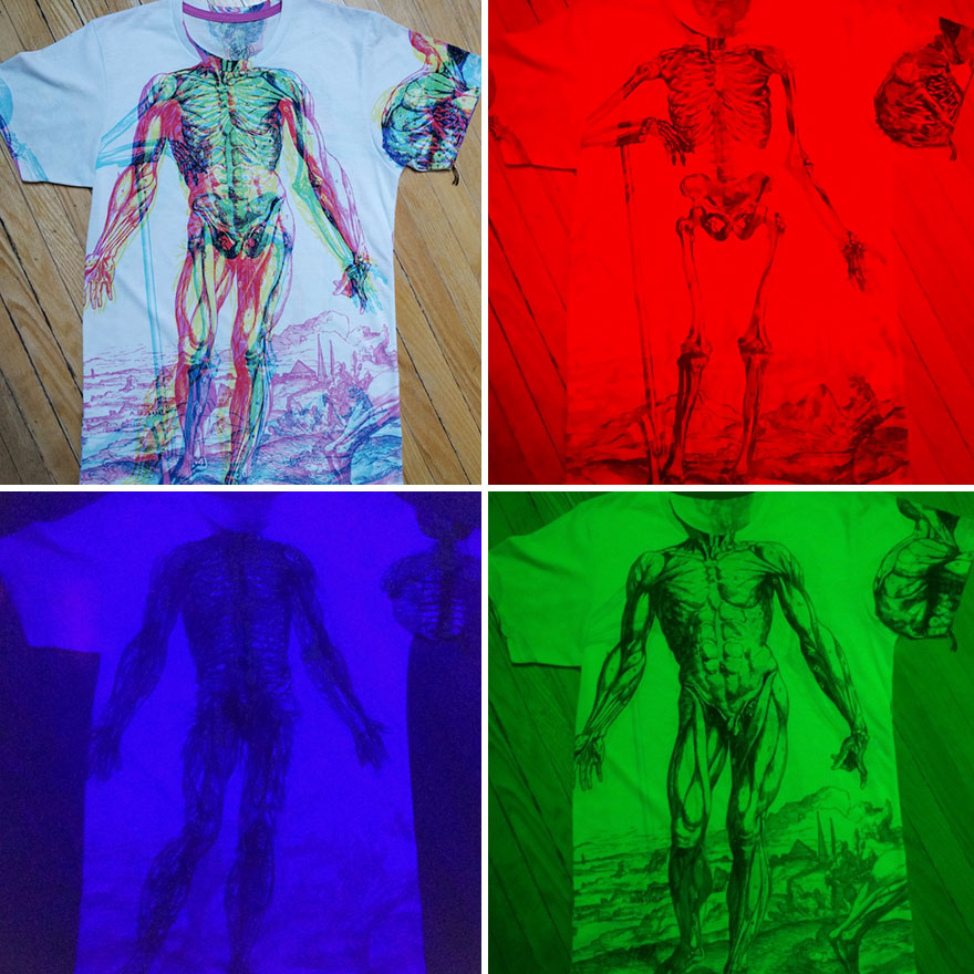 This Anatomy T-Shirt Reveals Different Layers Of The Human Body Under Different Lighting