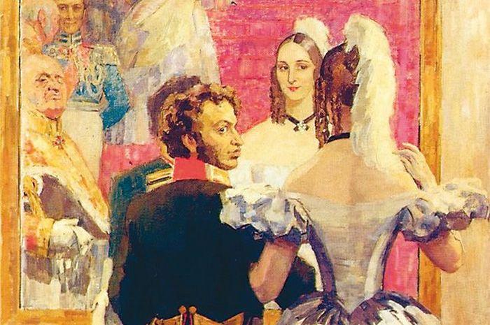 «Пушкин с женой перед зеркалом на придворном балу». Художник Н. Ульянов.