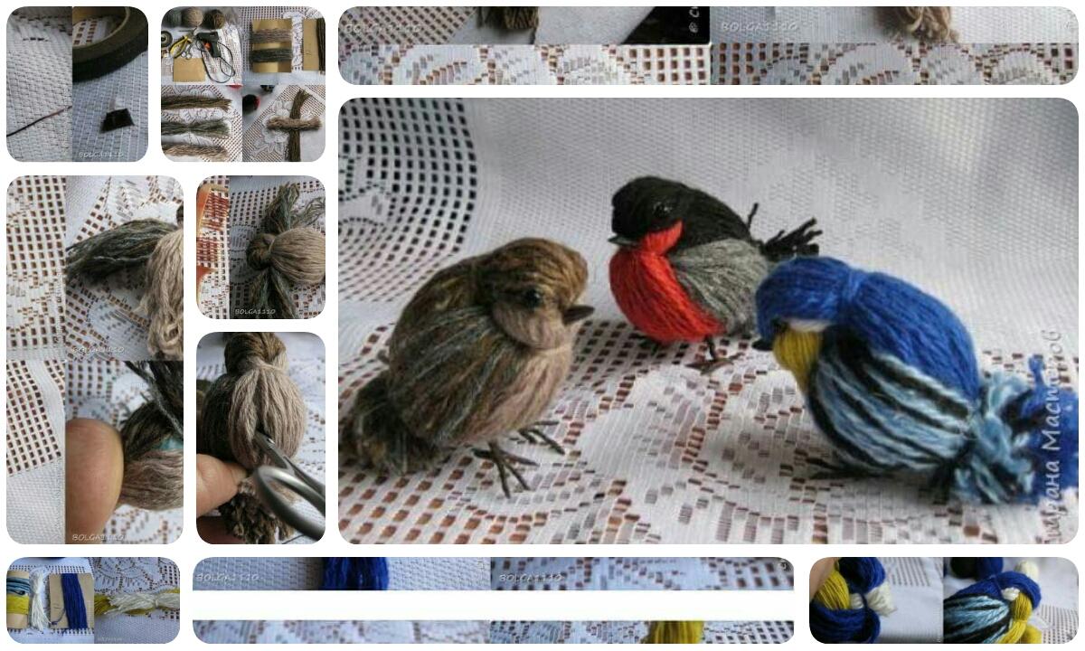 Как сделать птичку из ниток своими руками схема 81