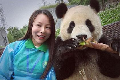 Позирующая для селфи панда прославила китаянку