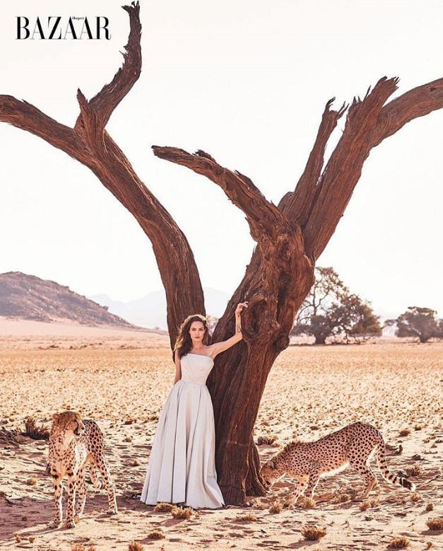 Анджелина Джоли снялась в африканской фотосессии для глянца