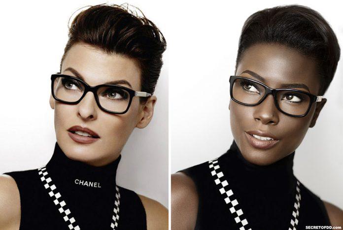 Темнокожая модель воссоздает модные фотографии