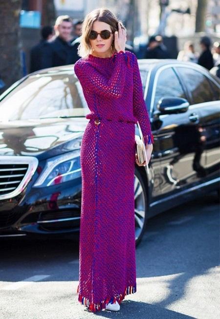 зимнее вязаное трикотажное платье, с чем носить, фото идеи для образа