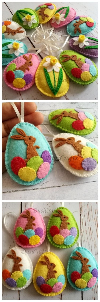 Easter bunny eggs, Felt Easter decoration - felt egg with bunny, Easter decor, felt Easter decor, felt Easter eggs - 1 ornament - craft ideas - DIY ideas #ad #etsy #gift #diy #craft #feltcrafts