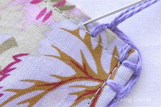 декоративная обметка квадратов для одеяла