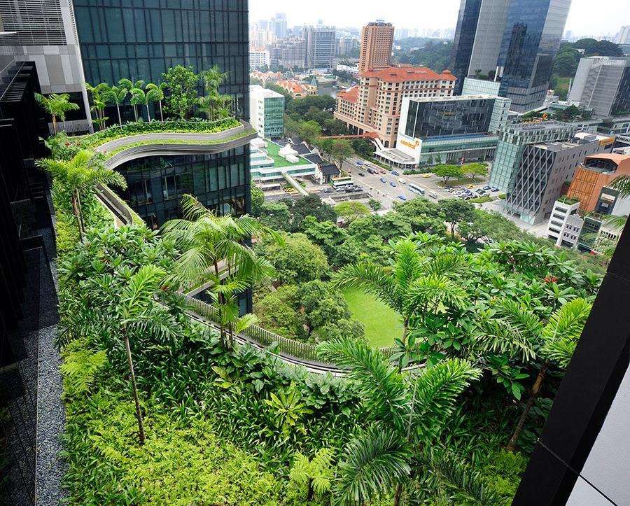 Parkroyal17 Уникальный сад на фасаде отеля в Сингапуре