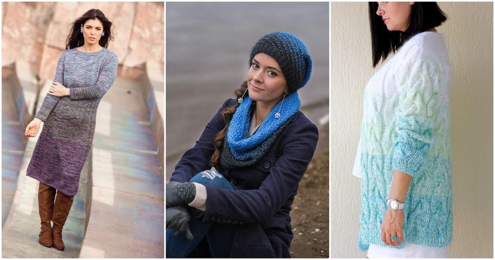 Градиентное вязание с переходом цветов — яркие идеи и мастер-классы