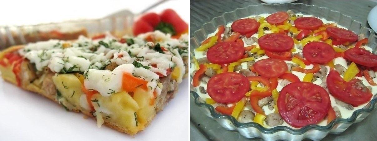 Вкуснейший открытый пирог с курицей и болгарским перцем!