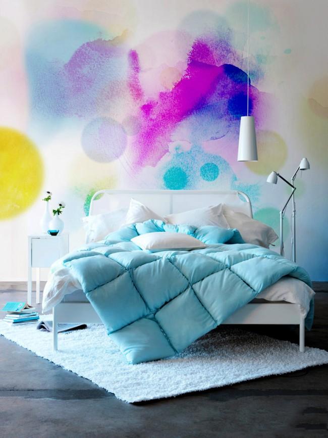 Эффекты размытия красок, созданные с помощью красок-спреев и губок, помогут скрыть всевозможные неровности стен