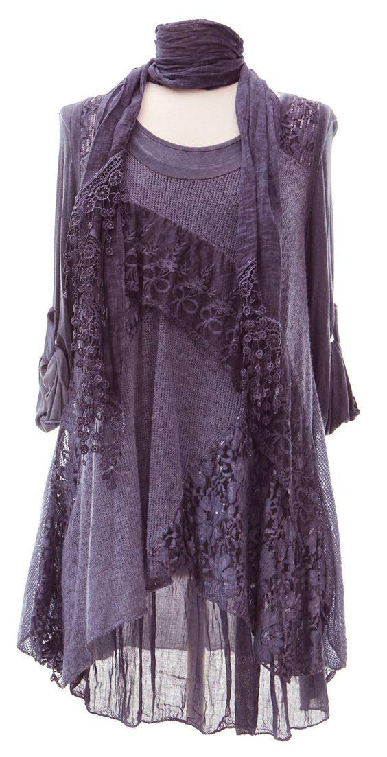 Ladies Womens Italian Lagenlook Quirky Layering 3 Piece Sequin Lace Knit Mohair Long Sleeves Scarf Tunic Top Dress One Size Plus (UK 10-20) (One Size Plus, Purple):