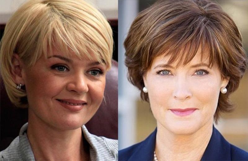 Прически для женщин 40 лет на средние волосы круглое лицо фото