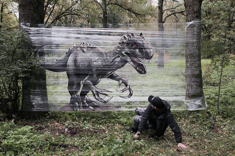 Cellograffiti: нетрадиционные граффити в лесу от художника Евгения Чеса