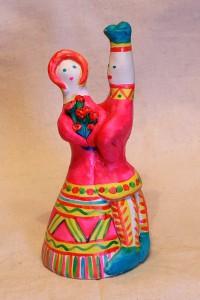 Игрушки Елены Кехаиди - глиняный колокольчик с традиционным филимоновским сюжетом Любота