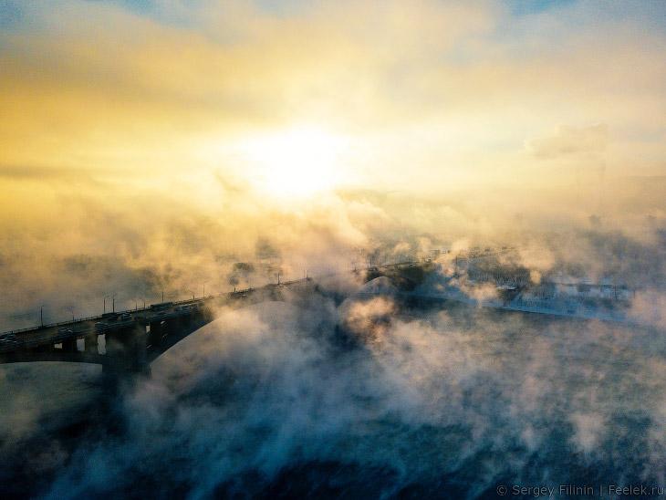Зимний туман над Енисеем