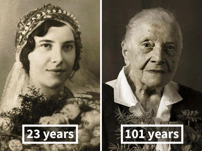 Портреты чешских долгожителей в возрасте старше 100 лет в молодости и сейчас