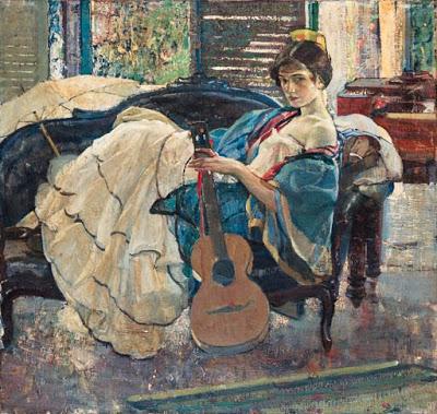 m Richard Edward Miller (American painter, 1875-1943) String Artist (400x379, 195Kb)