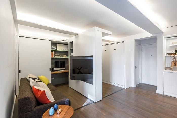 Смелое решение — квартира-трансформер, где на 36 кв. метрах разместилось 5 комнат