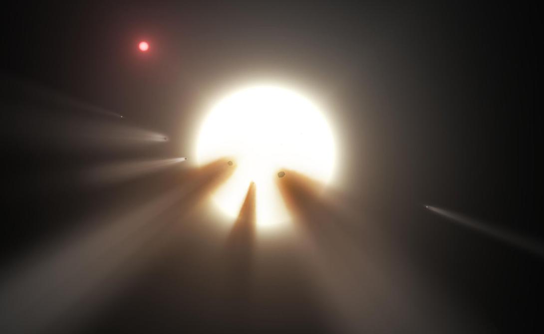 Рой комет Само собой, практичные ученые не стали заявлять ни о каких инопланетных цивилизациях. Рабочей гипотезой было принято воздействие роя комет на сигналы звезды. Но тот же Шефер сумел доказать, что рой комет не смог бы оказать никакого влияния на снижение яркости звезды — а сомнений в том, что светило начинает гаснуть уже не осталось. Единственно возможной рациональной причиной такого странного поведения можно признать только существование у звезды так называемой сферы Дайсона — мегаструктуры, способной извлекать энергию прямо из светила.