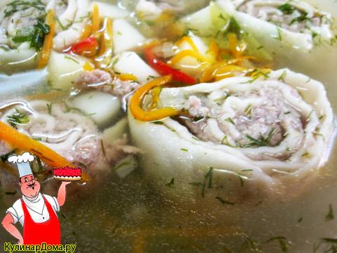 Суп с ленивыми пельменями.