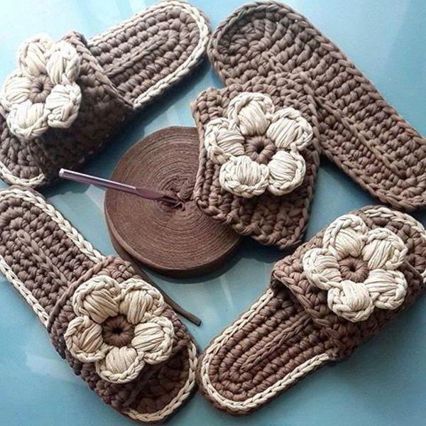 Вяжем милые домашние тапочки: схема вязания