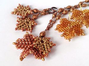 Плетем кленовые листья из бисера и бусин | Ярмарка Мастеров - ручная работа, handmade