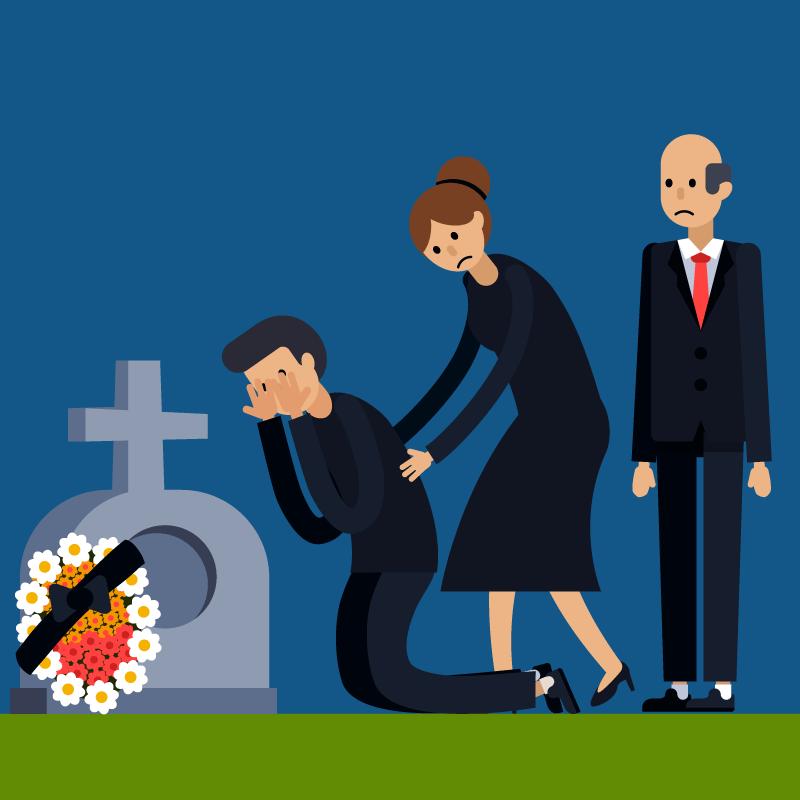 Рыдает зять возле гроба тёщи…