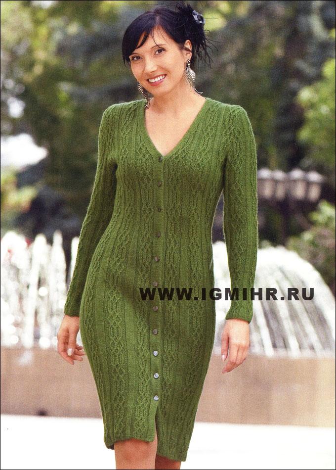 Элегантное зеленое платье на пуговицах
