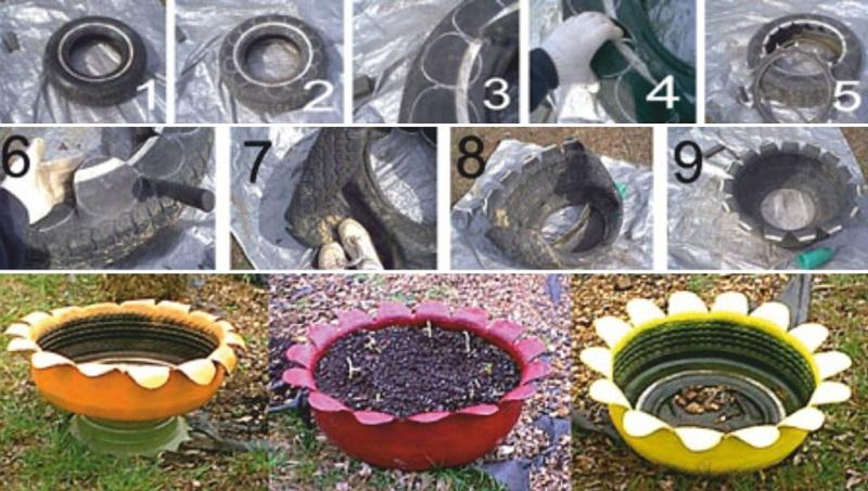 Поделки для сада из покрышек
