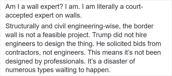 Engineer Explains Why The Wall Is 'A Disaster Of Numerous Types Waiting To Happen'