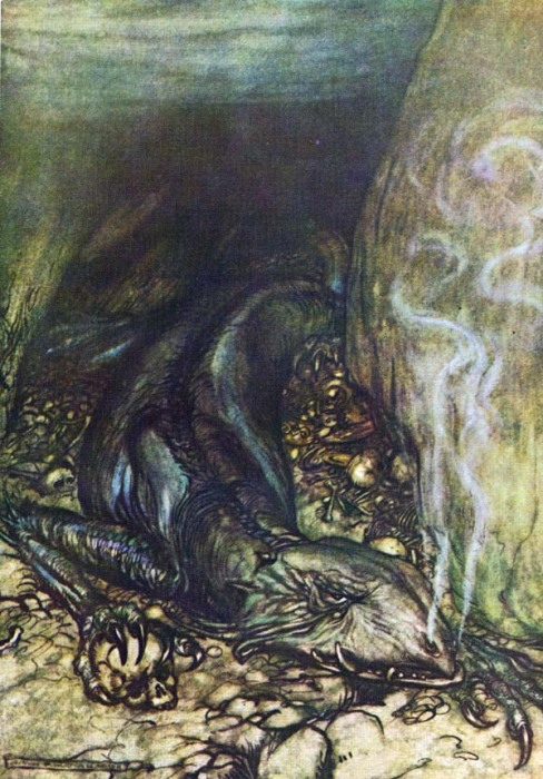 Фафнир стережет свое золото. Артур Рэкем, 1911 год. | Фото: ru.wikipedia.org.