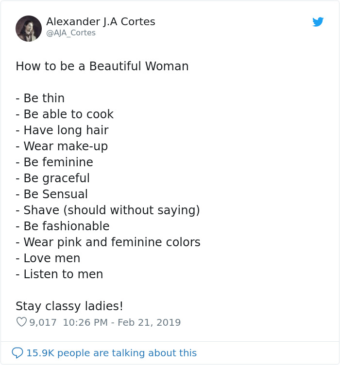Guy Tweets Sexist List That Explains How To Be A 'Beautiful Woman' And It Backfires Immediately