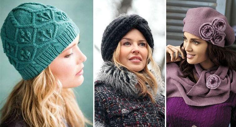 Вязаные шапки для женщин после 40, 50 лет
