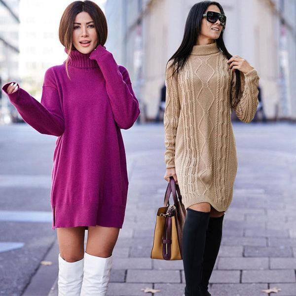 Восемь способов носить платье-свитер, чтобы выглядеть сексуально