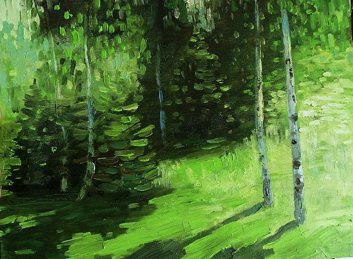 Изумрудным мягким светом Мир наполнился вокруг... Художник Евгений Бондаренко