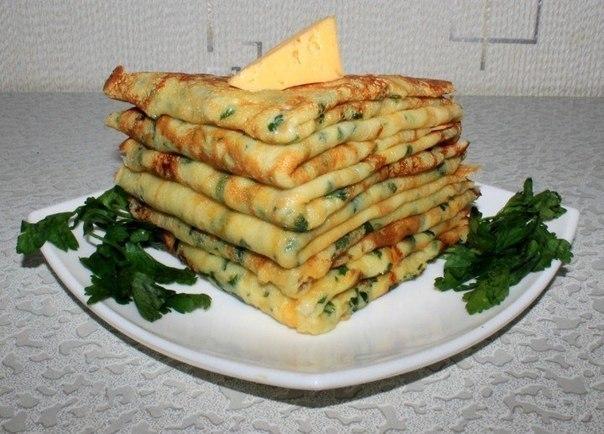 Обалденные Cырные блинчики с петрушкой
