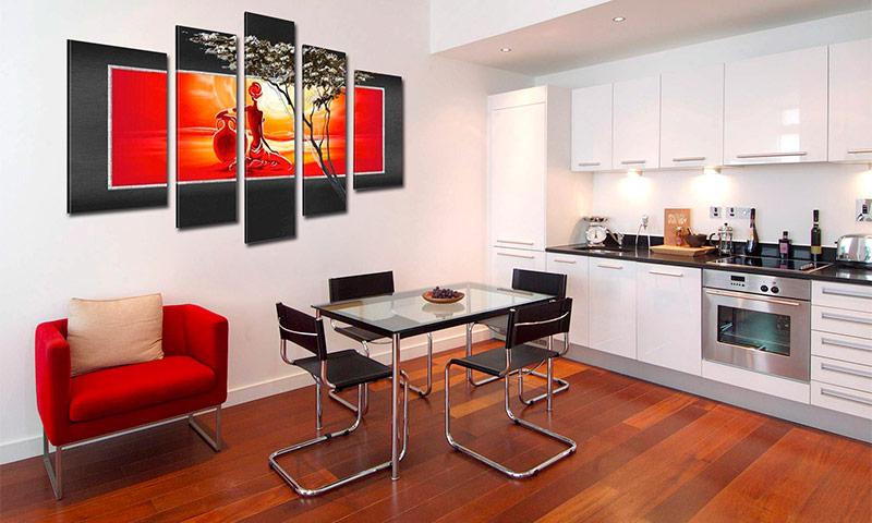 Модульные картины в интерьере гостиной - как их подбирать к интерьеру