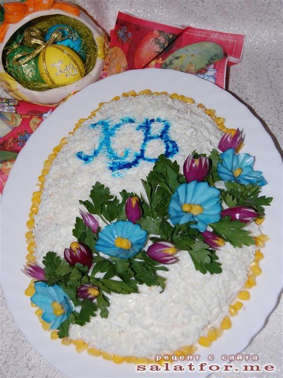 """Салат """"Пасхальный"""". Ленивый кекс с персиками (без выпечки)"""